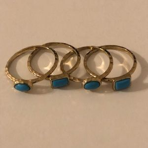 Stackable Set of Gold and Turquoise Rings